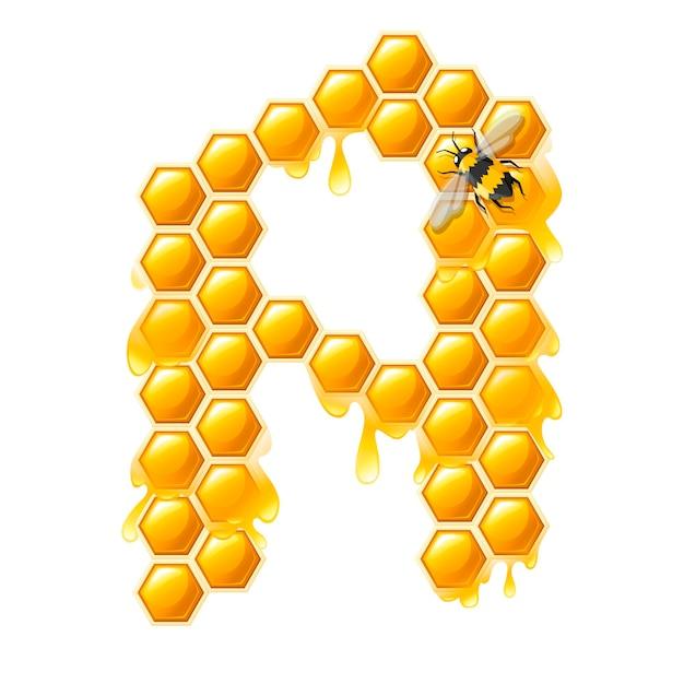 Honingraat letter a met honing druppels en bijen platte vectorillustratie geïsoleerd op een witte achtergrond.