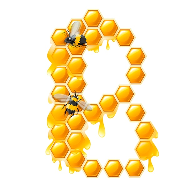 Honingraat letter b met honing druppels en bijen platte vectorillustratie geïsoleerd op een witte achtergrond.