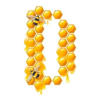 Honingraat letter d met honing druppels en bijen platte vectorillustratie geïsoleerd op een witte achtergrond.