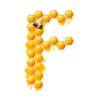 Honingraat letter f met honing druppels en bijen platte vectorillustratie geïsoleerd op een witte achtergrond.