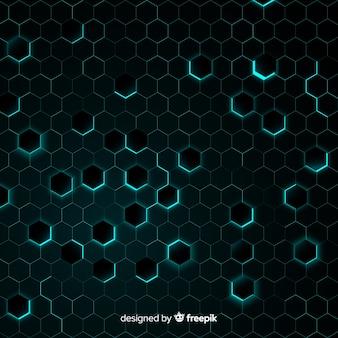 Honingraat met chaotisch lichtblauw licht