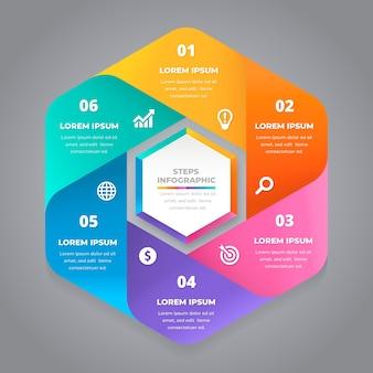Honingraat stappen kleurrijke infographic