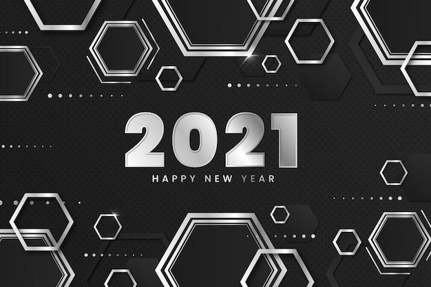 Honingraat zilver gelukkig nieuwjaar 2021