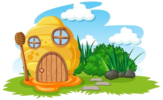 Honingraathuis in de tuin cartoon stijl op hemelachtergrond