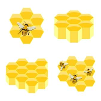 Honingraatillustratie op wit wordt geïsoleerd dat