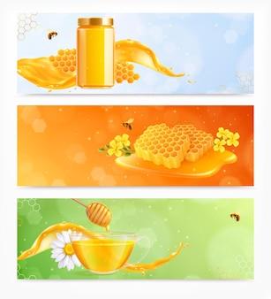 Honingset van drie horizontale banners met realistische afbeeldingen van gerechten, bloemen en kammen met bijenillustratie