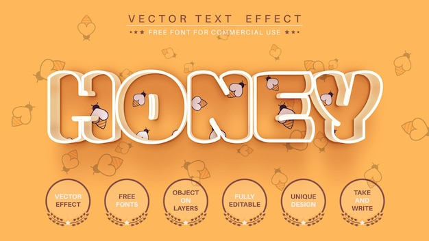 Honingstreek bewerk teksteffect bewerkbare lettertypestijl