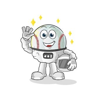 Honkbal astronaut zwaaien karakter illustratie