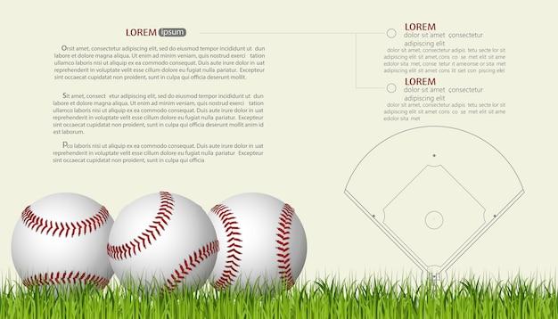 Honkbal banner sjabloon, spel bal met schaduw en rode naad, honkballen op een groen veld gras. vector