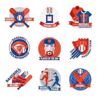 Honkbal emblemen instellen