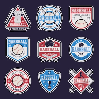Honkbal gekleurde emblemen