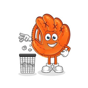 Honkbal handschoen gooi vuilnis in de vuilnisbak cartoon mascotte
