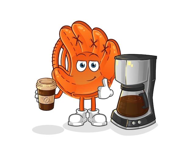 Honkbal handschoen koffie drinken illustratie