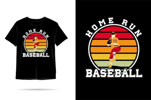 Honkbal home run silhouet tshirt ontwerp