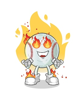 Honkbal in brand mascotte illustratie