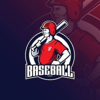 Honkbal mascotte logo met moderne illustratie