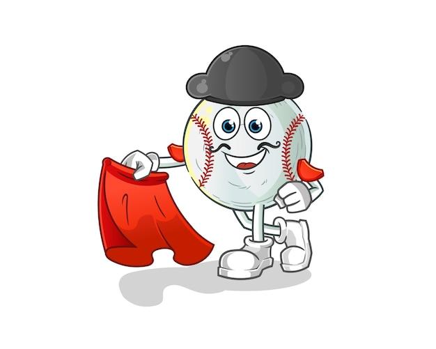 Honkbal matador met rode doek illustratie
