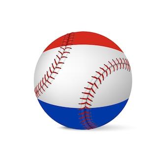 Honkbal met vlag van nederland, geïsoleerd op een witte achtergrond.