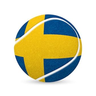 Honkbal met vlag van zweden, geïsoleerd op een witte achtergrond.