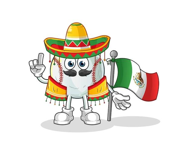 Honkbal mexicaan met traditionele doek en vlagkarakterillustratie