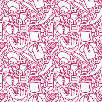 Honkbal mono doodle naadloze lijnpatroon