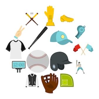 Honkbal pictogrammen instellen in vlakke stijl