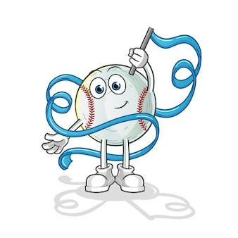 Honkbal ritmische gymnastiek mascotte illustratie