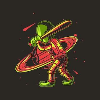 Honkbal spelen met planeet, alien