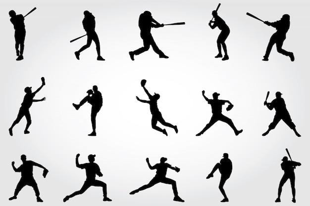 Honkbal spelers silhouetten