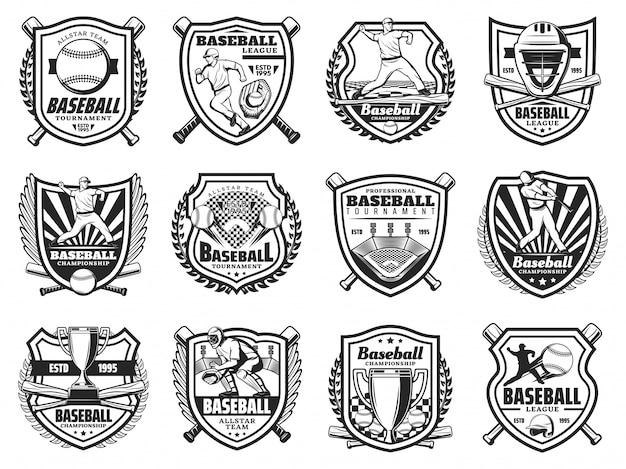 Honkbal sport en spelers pictogrammen