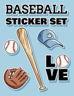 Honkbal sticker set. honkbalknuppel, hoed en pakkende handschoen label doodles