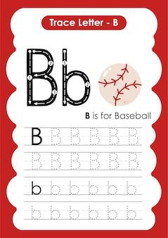Honkbal trace lijnen schrijven en tekenen oefenwerkblad voor kinderen