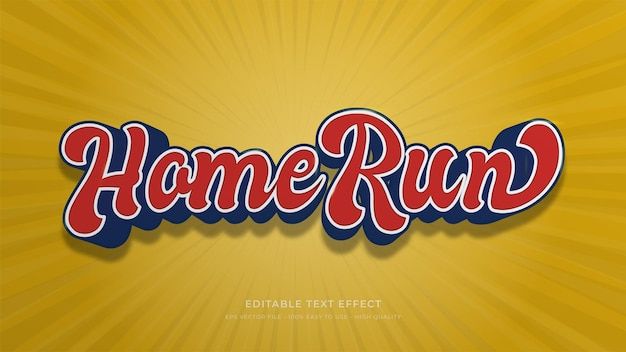 Honkbal typografie bewerkbaar teksteffect