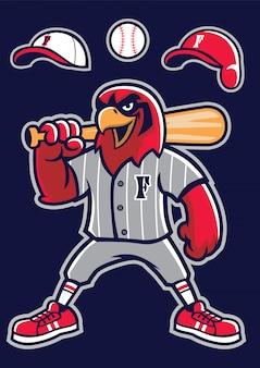 Honkbal valk mascotte