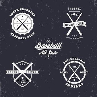 Honkbal vintage emblemen, insignes, logo's met gekruiste honkbalknuppels