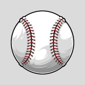 Honkbalbal die op grijze achtergrond wordt geïsoleerd, geïllustreerd in hoge kwaliteit, schaduwen en lichten, klaar voor gebruik in uw sportontwerpen.