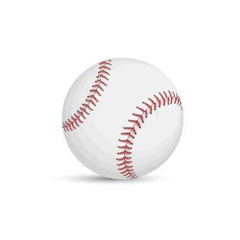 Honkbalbal op witte achtergrond wordt geïsoleerd die