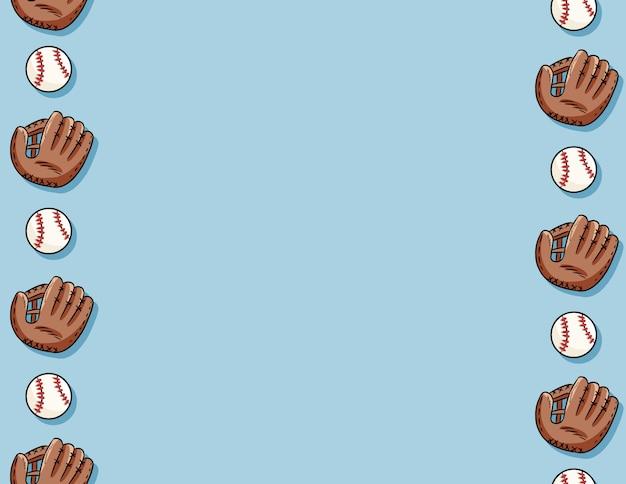 Honkbalballen en handschoenen naadloos patroon. brieven sjabloon. leuke doodle hand getrokken baseballs op blauwe achtergrond textuur tegel