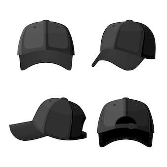 Honkbalkappen in voor- en achteraanzicht geïsoleerd op wit