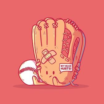 Honkbalkarakter met balillustratie. mascotte, sport, competitie