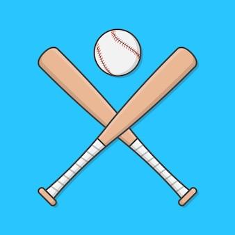 Honkbalknuppels en bal geïsoleerd op blauw