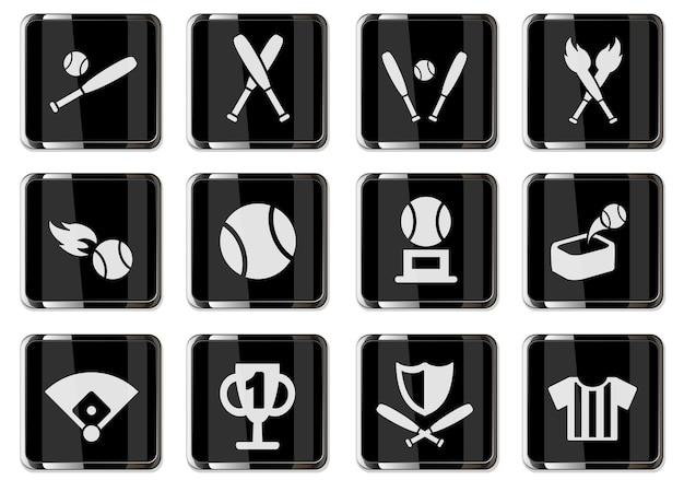 Honkbalpictogrammen in zwarte chromen knoppen. pictogrammenset voor uw ontwerp. vector iconen