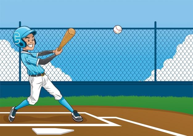 Honkbalspeler die de bal raakt