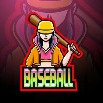 Honkbalspeler esport logo mascotte ontwerp