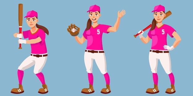 Honkbalspeler in verschillende poses. vrouwelijke persoon in cartoon-stijl.