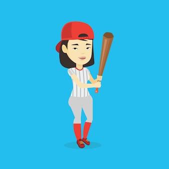 Honkbalspeler met vleermuis vectorillustratie.
