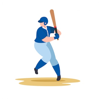 Honkbalspeler swing honkbalknuppel
