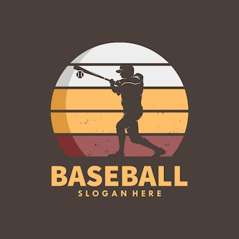 Honkbalspelers vector silhouetten logo ontwerp