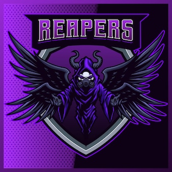 Hood reaper met gasmasker kleur esport en sport mascotte logo-ontwerp met moderne illustratie. kwaadaardige illustratie