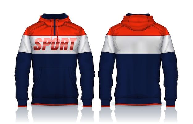 Hoodie shirts sjabloon. jas ontwerp, sportkleding track voor- en achteraanzicht.